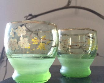 VINTAGE GLASS...four { 4 } shot glasses ~ small sipper ~ wedding office ~ bar home gift - green floral sherry brandy christmas entertaining