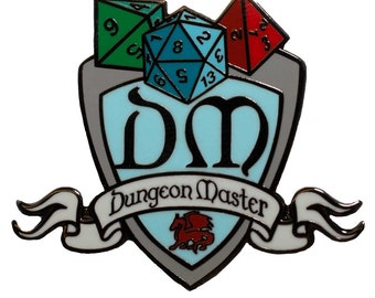 """DM Dungeon Master Shield - 1.5"""" Enamel Pin, Great for Tabletop Gamers"""