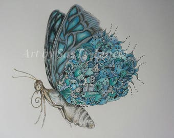 Butterfly-Doodles, limited edition, Doodle Art, pictures, drawing, surreal, coloured, animals, print, butterfly
