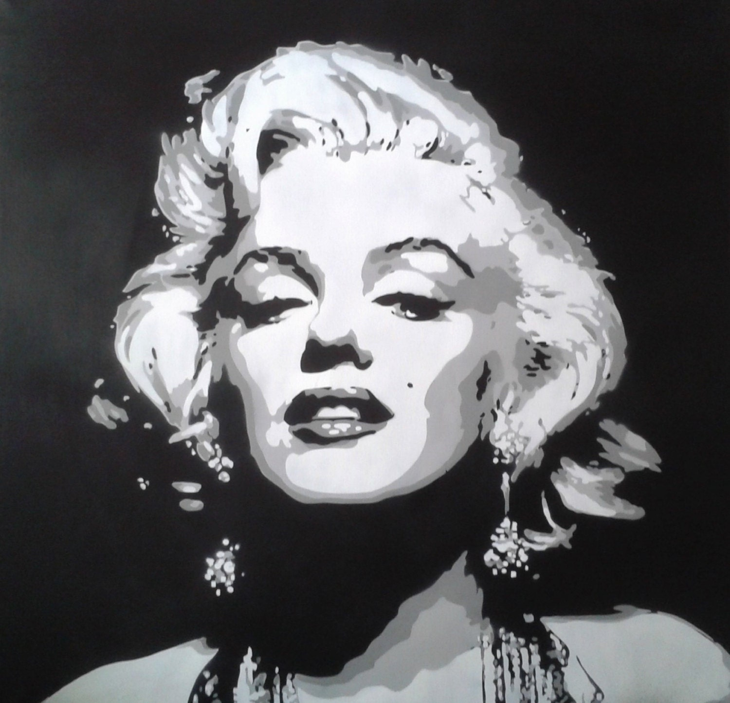 Marilyn Monroe Black And White Red Lips Drawing