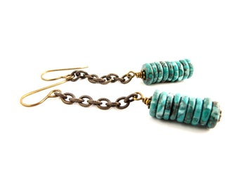 Turquoise Green Boho Long Dangle Gemstone Earrings, Casual Everyday Bohemian Accessory
