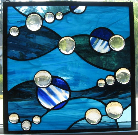 Blue Waves Stained Glass Window