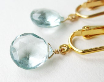 Pale Aqua Teardrop Clip-on Earrings, Light Blue Quartz Faceted Drop Clip Earrings, Gold Ear Clips, Heart Briolettes, Handmade, Morris Gold