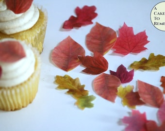 """24 small edible fall leaves for cupcakes, small 1/2""""-1.25"""" sizes, colored on both sides. Autumn wedding decor cake topper leaf image."""