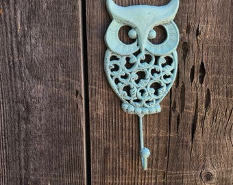 Owl Hook Hand Painted Cast Iron Wall Mount Coat Hooks, Bathroom Towel Owl Hanger, Coat Hooks, Purse Hooks, Item #551559291