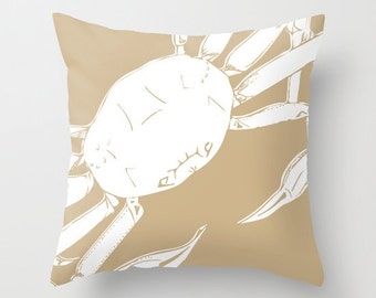 Snow Crab Pillow Cover, Sea Animal pillow, beige pillow, crab decor, sand neutral pillow, sea life decor, choose color, c pillow