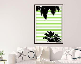 Tropical Palm Leaves and Colourful Stripes Printable Art - Tropical Greenery & Stripes Papercut Art Print - Various Sizes and Colours