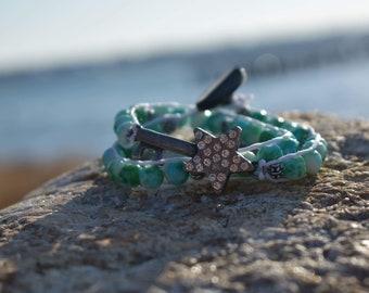 Star Key Beaded Wrap Bracelet