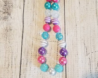 White, blue, pink, and purple chunky necklace