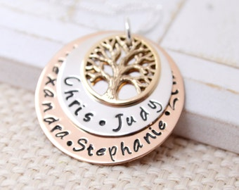 Personalized Family Tree Necklace, Family Tree Mothers Necklace, Grandma Necklace, Nana Necklace, Mothers Necklace, Mommy Jewelry, Mom Gift