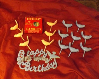 Vintage Bird Birthday Candle Holder Cake Toppers