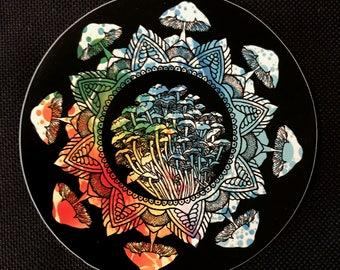 Psychedelic Mushroom Mandala Sacred Geometry Sticker 3x3 Vinyl Circle Art Weatherproof