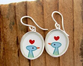 Bird Earrings - Sterling Silver and Vitreous Enamel Love Bird Earrings - Bird Gift For Her