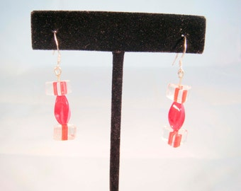 Sterling Silver Red Triangle Glass Beaded Earrings