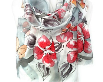 Silk Scarf. Whimsy Scarf. Hand Painted Silk Scarf. Woman Unique Gift. Red Silk Scarf. Floral Silk Shawl 18x71in (45x180cm) MADE to Order