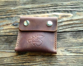 Mini leather wallet, leather pouch