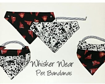 canine corner dog breeds, reversible dog scarf, dog bandana, pet scarf, pet bandana, pet attire, pet clothing, reversible, dalmation, fire