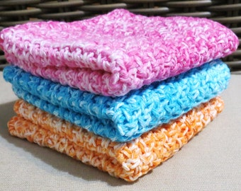 Pink, Blue and Orange, Summer Splash Handmade Crocheted Wash Cloths Set of Three, Ombre, Cotton Blend, Dish Cloths, Bath Accessories
