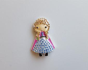 "Rhinestone Frozen Anna Embellishment 2""X3"" Frozen Anna Pendant Princess Pendant Flat Back Embellishment"