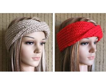 Ribbed Knitted Headband, Twisted Womens Chunky Knit Ear Warmer Head Wrap