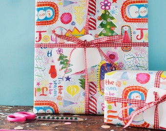 Bright Christmas Gift Wrap, for children, fun, colourful, wrapping paper, christmas gifts, presents for children, reindeer, snowmen, trees