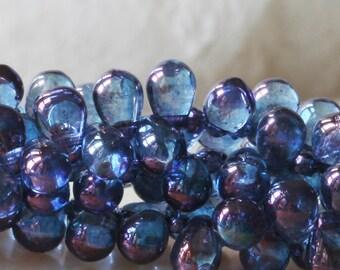 6x4mm Glass Teardrop Beads - Jewelry Making Supply -  Amethyst Luster (100 Drops)