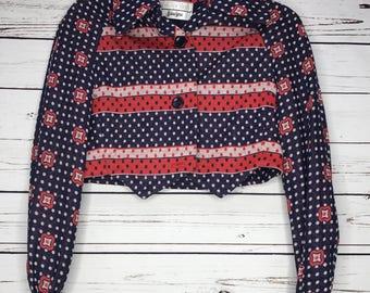 Ladies red white and blue pattern crop blazer