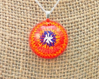 Resin pendant - handpainted with multi-colored tie dyed/firework/mum flower effect - Multi-layer acrylic painting