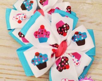 Cupcakes Piggie Bow Set - Pinwheel Bows