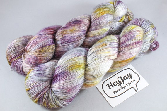 Plus Size Skein, Hand Dyed Sock Yarn 4ply, 150g/600m, BFL and Silk - Fairy Mechanic