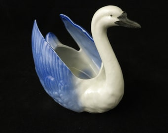 Vintage Swan Ceramic Planter Bowl Blue & White 1940's