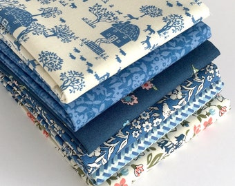 Liberty Fat Quarter Bundle in Blues - 6 pc - Liberty of London cotton fabrics for quilting