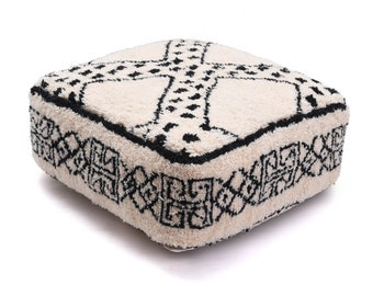 Moroccan Pouf, Floor Cushion, Beni Ourain Pouf Ottoman, Floor Pillow, Foot Stool, Refashioned from a New Berber Rug. PVA024