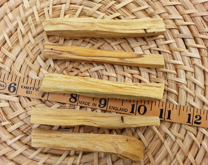 Palo Santo Holy Wood (Burseara Graveolens) 5 pack each stick is approximately 4 inches, sustainably harvested, Reiki infused