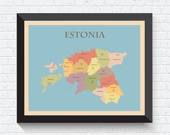 Estonia Map, Estonia Poster, Estonia Print, Estonia Art, Estonia Map Print, Map of Estonia, Estonia Art Print, Estonia Decor, Estonia