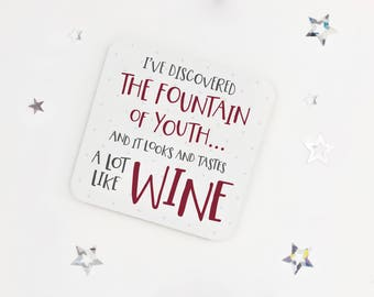Funny wine birthday coaster - wine lovers drinks coaster - drink mat - birthday coaster - token gift - fun present - mothers day gift