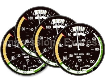 Aviation Airspeed Indicator Round Coasters - Set of 4