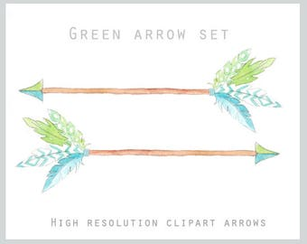 Feather Arrow Green Clipart Set - Watercolor digital illustrations in high quality resolution
