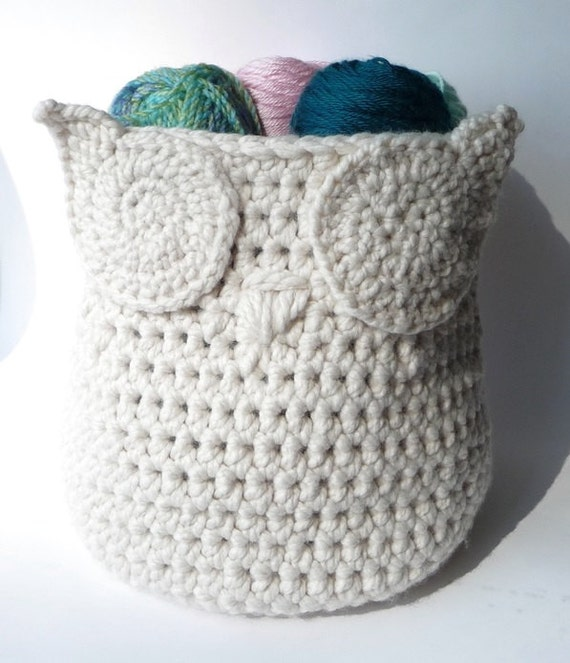 Owl Basket Crochet Pattern Home Decor Owl Decor Storage Bin