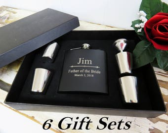 6 Groomsmen Flask Gift Set and Shot Glasses Set with Funnel