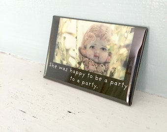 """Porcelain Doll Photography Adventures of Claudia Funny Magnet Dollhouse Photo """"A Party"""""""