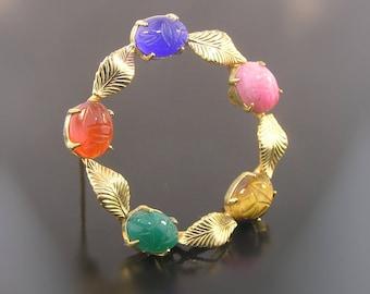 12k Scarab Brooch - W. E. Richards 12k Yellow Gold Filled Cabachon Scarab Pin - Tigers Eye - Carnelian Chalcedony - 1940s Estate Brooch