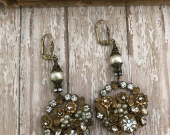 Upcycled rhinestone cluster earrings, vintage glam, OOAK redesigned jewelry, assemblage, repurposed, spring bride faux pearl drops