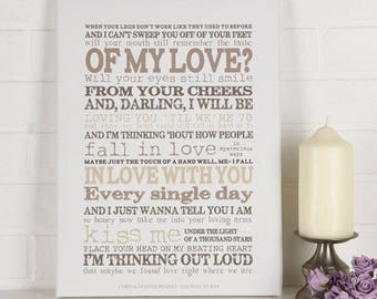 Thinking out Song Lyric Canvas
