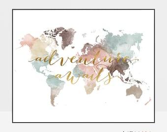 Adventure awaits print, World map poster, Large world map, World map wall art, Travel map, Travel decor, faux gold, Gift, ArtPrintsVicky