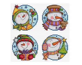 Happy Snowmen - Set of 4 - Durene J Cross Stitch Pattern - DJXS2254