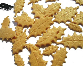 Edible holly sugar leaves gold cake cupcake toppers