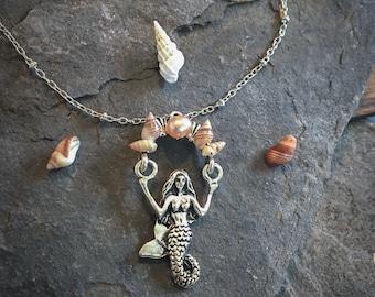 Kauai Shell Necklace, Mermaid Necklace, Silver Mermaid, Mermaid Pendant, Kahehelani Shell, Niihau Shell, Kauai Jewelry, Kauai Necklace,