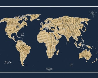 Music map etsy world map sheet music map world map map of the world world gumiabroncs Choice Image