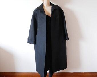 1950s Black Opera Coat.  women's silk & wool shantung clutch cocktail jacket
